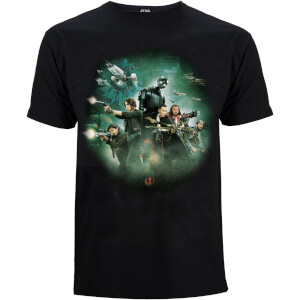 Star Wars: Rogue One Group Battle Heren T-Shirt - Zwart
