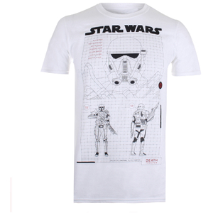 T-Shirt Star Wars Rogue One Death Trooper Schematic - Blanc