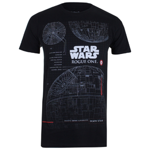Star Wars Herren Death Star Plans T-Shirt - Schwarz