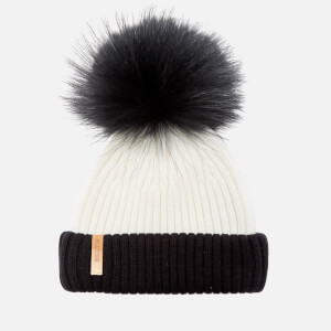 BKLYN Women's Merino Wool Hat with Black Pom Pom - White/Black