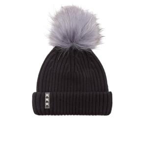 BKLYN Women's Merino Wool Hat with Dark Grey Pom Pom - Black