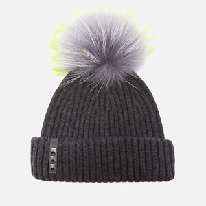 BKLYN Women's Merino Wool Hat with Grey/Lime Pom Pom - Charcoal