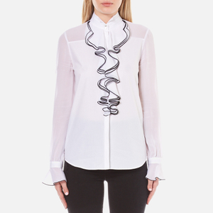 Karl Lagerfeld Women's Sheer/Solid Ruffle Blouse - White