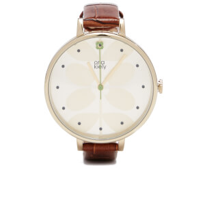 Orla Kiely Women's Ivy Croc Leather Watch - Brown