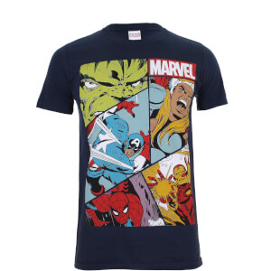 Marvel Boys' Heroes Grid Heren T-Shirt - Navy