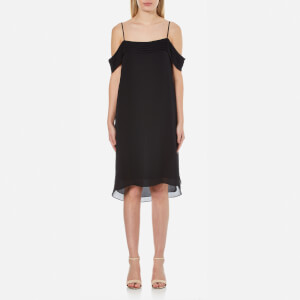 T by Alexander Wang Women's Silk Georgette Pleated Off the Shoulder Dress - Black