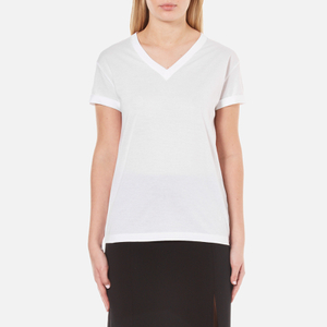 T by Alexander Wang Women's Superfine Jersey Short Sleeve V Neck T-Shirt - White