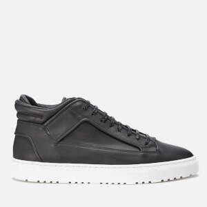 ETQ. Men's Mid Top 2 Rubberised Leather Trainers - Black