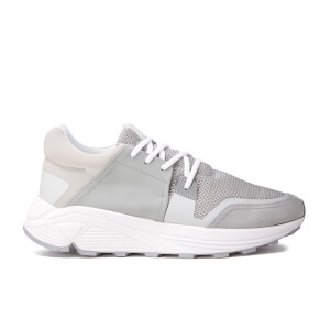ETQ. Men's Sonic Rubberised Leather Trainers - Alloy