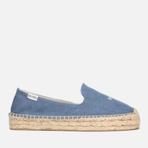 Soludos Women's Sorry Platform Smoking Slipper Espadrilles - Medium Denim