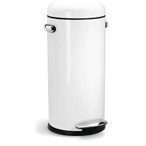 simplehuman Round Steel Retro Pedal Bin - White 30L