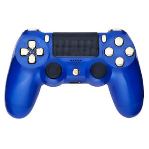 Manette PS4 Custom -Bleu Roi & Or Métallique