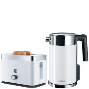 Graef TO61.UK 2 Slice Compact Toaster and WK701.UK 1.5L Kettle Bundle - White