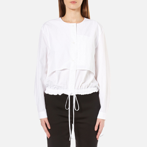 DKNY Women's Long Sleeve Cinch Waist Shirt Tail Pullover - White