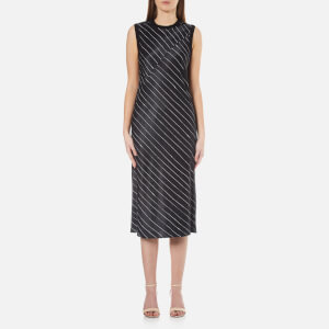 DKNY Women's Sleeveless Slip Dress with Seaming Detail - Black/Gesso