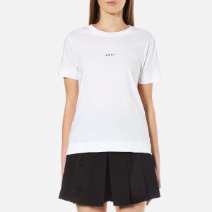 DKNY Women's Short Sleeve Crew Neck T-Shirt with Bonded Hems and Logo - White