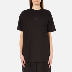 DKNY Women's Short Sleeve Crew Neck Oversized Kit Top with Logo - Black