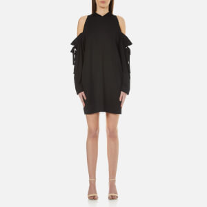 DKNY Women's Long Sleeve Cold Shoulder Dress with Bonded Raw Edges - Black