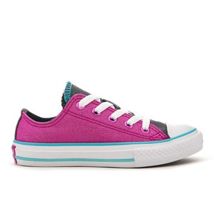 Converse Kids' Chuck Taylor All Star Double Tongue Ox Trainers - Magenta Glow