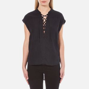 Maison Scotch Women's Cool Sleeveless Top with Lacing Detail - Black