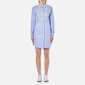 Sportmax Code Women's Curvato Lace Panel Shirt Dress - Light Blue