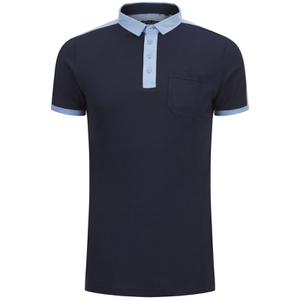 Brave Soul Men's Mozi Jersey Polo Shirt - Dark Navy/Sky Blue