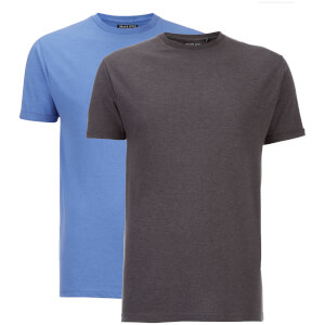Brave Soul Men's 2 Pack Vardan T-Shirt - Charcoal Marl/Blue Marl