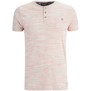 Brave Soul Men's Petrak Button Collar T-Shirt - Pink/White