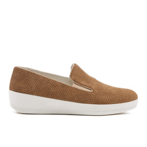 FitFlop Women's Superskate Perforated Suede Slip On Trainers - Soft Brown