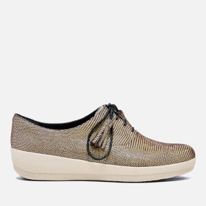 FitFlop Women's Classic Tassel Superoxford Lizard Print Trainers - Chocolate Brown