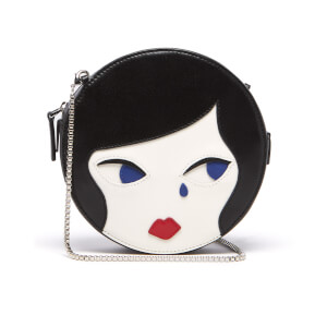 Lulu Guinness Women's Lulu Doll Face Leather Round Cross Body Bag - Black Chalk