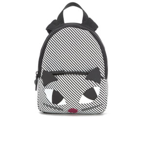 Lulu Guinness Women's Stripe Kooky Cat Small Backpack - Black White
