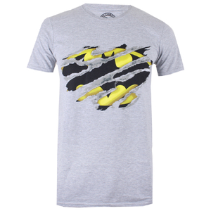 DC Comics Men's Batman Torn T-Shirtport Grey