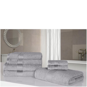 Highams 100% Egyptian Cotton 7 Piece Towel Bale - Grey