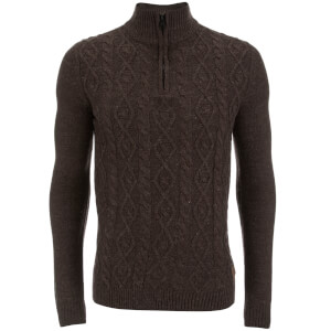Threadbare Men's Furrow Zip Neck Cable Jumper - Chocolate Marl