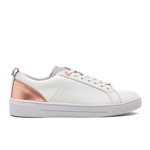 Ted Baker Women's Kulei Leather Cupsole Trainers - White/Rose Gold