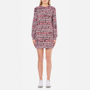 Love Moschino Women's Multi Logo Sweatshirt Dress - Macrologo/Black