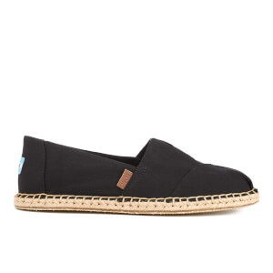 TOMS Men's Seasonal Classics Washed Canvas Espadrille Slip-On Pumps - Black Washed Canvas/Blanket Stitch
