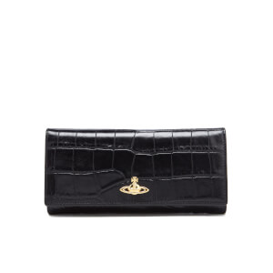 Vivienne Westwood Women's Royal Oak Croc Leather Credit Card Purse - Black