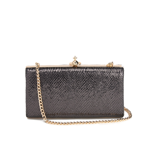 Vivienne Westwood Women's Verona Metallic Leather Large Clutch Bag with Chain - Black