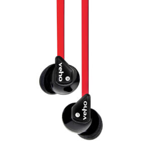 Veho 360 Stereo Noise Isolating Earphones - Red