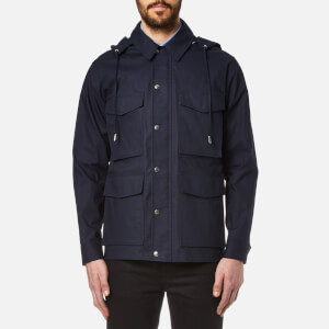 AMI Men's Canvas Parka Jacket - Navy/Off White