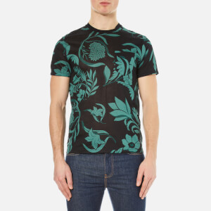 AMI Men's Flowers Printed T-Shirt - Black/Green