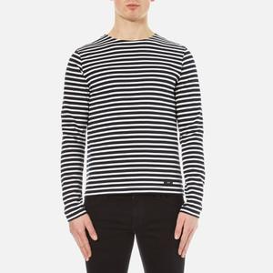 AMI Men's Crew Neck Breton Long Sleeve T-Shirt - Navy/White