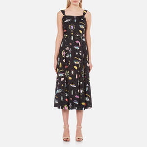 Boutique Moschino Women's Eye Print Midi Dress - Black