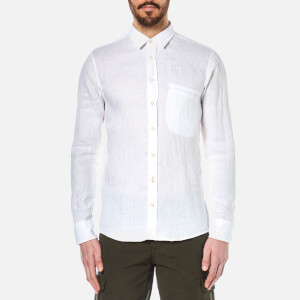 BOSS Orange Men's Elvedge Linen Shirt - White