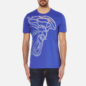 Versace Collection Men's Half Medusa Head Metalic Embossed T-Shirt - Blue