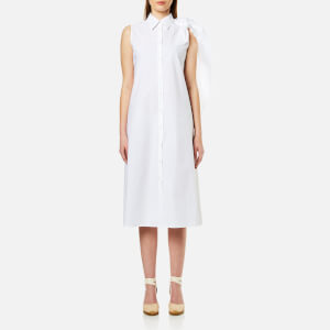 MM6 Maison Margiela Women's Midi Shirt Dress with Cape Tie Sleeve - White
