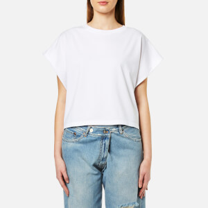 MM6 Maison Margiela Women's T-Shirt with Stripe Shirt Back - White/Blue Stripe