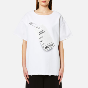 MM6 Maison Margiela Women's Oversized Tag Logo T-Shirt - White